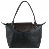 Long Chmp small layover Black/Brown trim handbag
