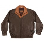 2 Color Coat - Dual Tone Leather Bomber Jacket