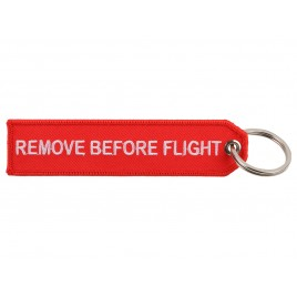 REMOVE BEFORE FLIGHT IN RED EMBROIDERED BAG TAG