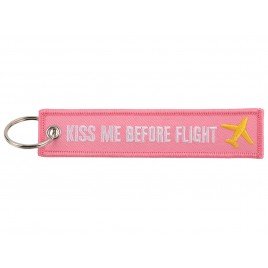 KISS ME BEFORE FLIGHT EMBROIDERED BAG TAG