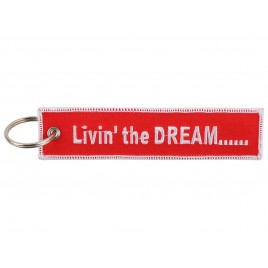 LIVING THE DREAM EMBROIDERED BAG TAG
