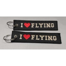 I LOVE FLYING EMBROIDERED BAG TAG