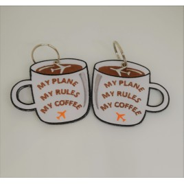 COFFEE MUG EMBROIDED BAG TAG