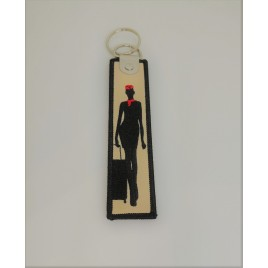 FLY ME TO THE SKY EMBROIDED BAG TAG (BLACK)