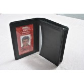 Black Leather Card Holder with 1 ID Slot