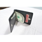 Leather Money Clip with Snap Lock Wallet