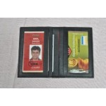 Black Leather Card Holder with 2 ID Slot