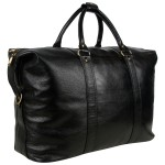 Travel Leather Duffle Bag - Black